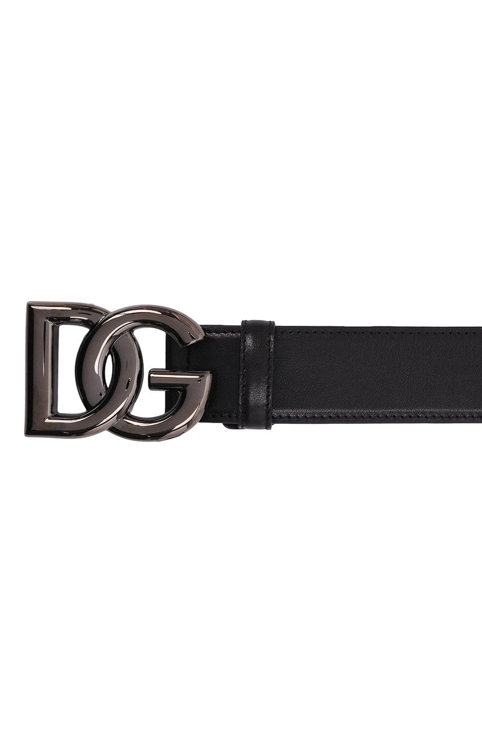 Мужской кожаный ремень DOLCE & GABBANA черного цвета, арт. BC4630/A0776   Фото 4 (Случай: Повседневный)