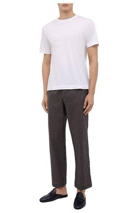 Мужские хлопковые домашние брюки DEREK ROSE темно-бежевого цвета, арт. 3564-NELS082 | Фото 2 (Материал внешний: Хлопок; Длина (брюки, джинсы): Стандартные; Кросс-КТ: домашняя одежда)