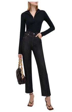 Женские джинсы JIL SANDER темно-синего цвета, арт. JPPT663102-WT246700 | Фото 2 (Материал внешний: Хлопок; Длина (брюки, джинсы): Стандартные; Кросс-КТ: Деним; Силуэт Ж (брюки и джинсы): Прямые; Стили: Кэжуэл)