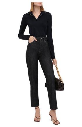 Женский хлопковый пуловер JIL SANDER темно-синего цвета, арт. JPPT705503-WT257108 | Фото 2 (Материал внешний: Хлопок; Женское Кросс-КТ: Пуловер-одежда; Рукава: Длинные; Длина (для топов): Стандартные; Стили: Кэжуэл)