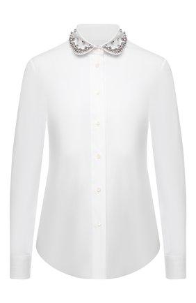 Женская хлопковая рубашка REDVALENTINO белого цвета, арт. WR0ABH35/0ES   Фото 1 (Материал внешний: Хлопок; Длина (для топов): Стандартные; Рукава: Длинные; Стили: Романтичный; Принт: Без принта; Женское Кросс-КТ: Рубашка-одежда)