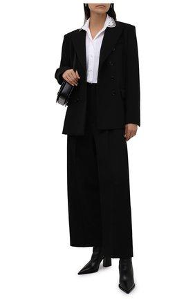 Женская хлопковая рубашка REDVALENTINO белого цвета, арт. WR0ABH35/0ES   Фото 2 (Материал внешний: Хлопок; Длина (для топов): Стандартные; Рукава: Длинные; Стили: Романтичный; Принт: Без принта; Женское Кросс-КТ: Рубашка-одежда)