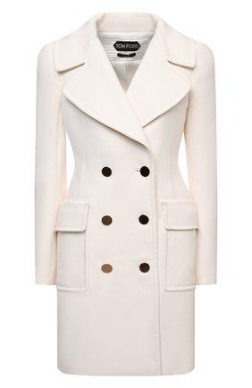 Женское шерстяное пальто TOM FORD белого цвета, арт. CP1541-FAX211 | Фото 1 (Материал подклада: Вискоза; Материал внешний: Шерсть; Стили: Гламурный; 1-2-бортные: Двубортные; Длина (верхняя одежда): До середины бедра; Рукава: Длинные)