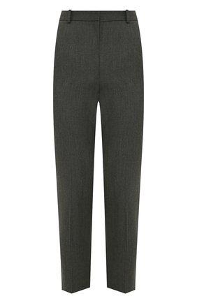 Женские шерстяные брюки ALEXANDER MCQUEEN серого цвета, арт. 585118/QJACH | Фото 1 (Материал внешний: Шерсть; Длина (брюки, джинсы): Укороченные; Стили: Кэжуэл; Женское Кросс-КТ: Брюки-одежда; Силуэт Ж (брюки и джинсы): Прямые)
