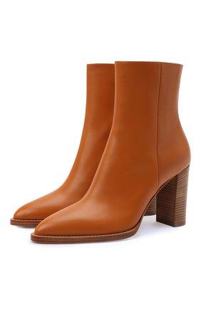 Женские кожаные ботильоны river GIANVITO ROSSI коричневого цвета, арт. G73456.85CU0.VITSINN | Фото 1 (Каблук высота: Высокий; Материал внутренний: Натуральная кожа; Подошва: Плоская; Каблук тип: Устойчивый)