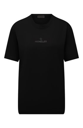 Женская футболка MONCLER черного цвета, арт. G2-093-8C000-04-829H8 | Фото 1 (Длина (для топов): Стандартные; Рукава: Короткие; Стили: Спорт-шик; Принт: С принтом; Женское Кросс-КТ: Футболка-спорт)