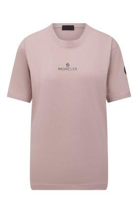 Женская футболка MONCLER розового цвета, арт. G2-093-8C000-04-829H8 | Фото 1 (Длина (для топов): Стандартные; Рукава: Короткие; Стили: Спорт-шик; Принт: С принтом; Женское Кросс-КТ: Футболка-спорт)