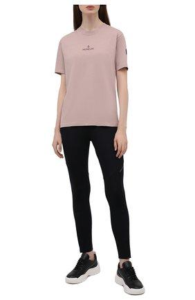 Женская футболка MONCLER розового цвета, арт. G2-093-8C000-04-829H8 | Фото 2 (Длина (для топов): Стандартные; Рукава: Короткие; Стили: Спорт-шик; Принт: С принтом; Женское Кросс-КТ: Футболка-спорт)