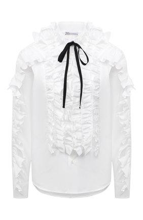 Женская блузка REDVALENTINO белого цвета, арт. WR0ABH10/LUN   Фото 1 (Материал внешний: Синтетический материал, Хлопок; Длина (для топов): Стандартные; Рукава: Длинные; Стили: Романтичный; Принт: Без принта; Женское Кросс-КТ: Блуза-одежда)