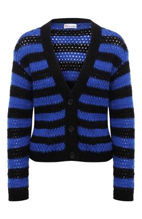 Женский кардиган REDVALENTINO синего цвета, арт. WR0KA03B/66Y | Фото 1 (Рукава: Длинные; Длина (для топов): Стандартные; Материал внешний: Синтетический материал; Стили: Кэжуэл; Женское Кросс-КТ: кардиган-трикотаж)