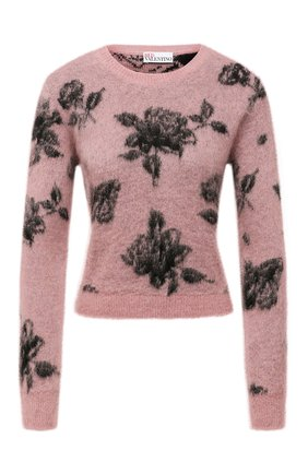 Женский пуловер REDVALENTINO светло-розового цвета, арт. WR0KC10Z/66T | Фото 1 (Материал внешний: Синтетический материал; Длина (для топов): Стандартные; Рукава: Длинные; Стили: Романтичный; Женское Кросс-КТ: Пуловер-одежда)