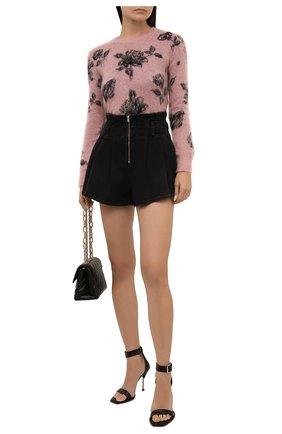 Женский пуловер REDVALENTINO светло-розового цвета, арт. WR0KC10Z/66T | Фото 2 (Материал внешний: Синтетический материал; Длина (для топов): Стандартные; Рукава: Длинные; Стили: Романтичный; Женское Кросс-КТ: Пуловер-одежда)