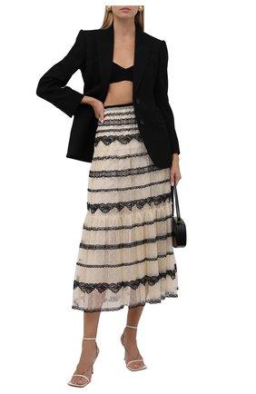 Женская юбка REDVALENTINO черно-белого цвета, арт. WR0RA01Y/66E   Фото 2 (Материал подклада: Синтетический материал; Длина Ж (юбки, платья, шорты): Миди; Материал внешний: Синтетический материал; Стили: Романтичный; Женское Кросс-КТ: Юбка-одежда)