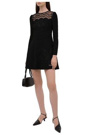 Женское платье REDVALENTINO черного цвета, арт. WR0VA20G/66H   Фото 2 (Материал внешний: Синтетический материал; Длина Ж (юбки, платья, шорты): Мини; Рукава: Длинные; Материал подклада: Синтетический материал; Стили: Гламурный; Женское Кросс-КТ: Платье-одежда, платье-футляр; Случай: Формальный)