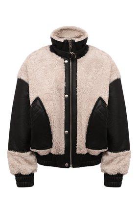 Женская куртка IRO черно-белого цвета, арт. WP06H0TAR0   Фото 1 (Длина (верхняя одежда): Короткие; Материал подклада: Вискоза; Материал внешний: Натуральный мех; Рукава: Длинные; Стили: Кэжуэл; Кросс-КТ: Куртка)