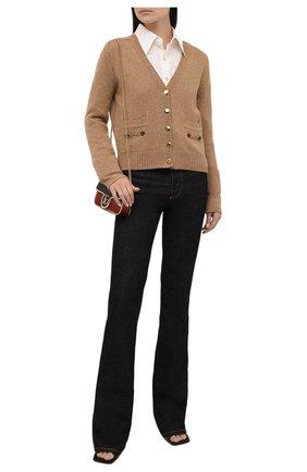 Женский кашемировый кардиган GUCCI коричневого цвета, арт. 628412/XKBH9 | Фото 2 (Материал внешний: Кашемир, Шерсть; Стили: Кэжуэл; Женское Кросс-КТ: кардиган-трикотаж; Длина (для топов): Стандартные; Рукава: Длинные)