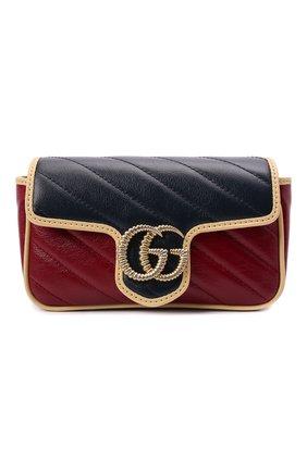Женская сумка supermini GUCCI разноцветного цвета, арт. 574969/1X5DG | Фото 1 (Материал: Натуральная кожа; Размер: mini; Сумки-технические: Сумки через плечо; Ремень/цепочка: С цепочкой)