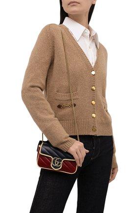 Женская сумка supermini GUCCI разноцветного цвета, арт. 574969/1X5DG | Фото 2 (Материал: Натуральная кожа; Размер: mini; Сумки-технические: Сумки через плечо; Ремень/цепочка: С цепочкой)