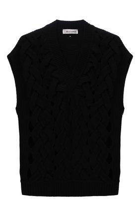 Женский шерстяной жилет VALENTINO черного цвета, арт. WB0KM01V6QA   Фото 1 (Длина (верхняя одежда): Короткие; Материал внешний: Шерсть; Стили: Кэжуэл; Женское Кросс-КТ: Жилет-одежда; Кросс-КТ: Трикотаж)