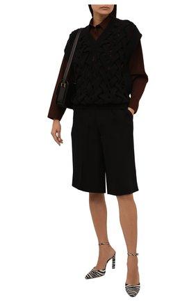 Женский шерстяной жилет VALENTINO черного цвета, арт. WB0KM01V6QA   Фото 2 (Длина (верхняя одежда): Короткие; Материал внешний: Шерсть; Стили: Кэжуэл; Женское Кросс-КТ: Жилет-одежда; Кросс-КТ: Трикотаж)