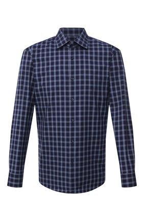 Мужская хлопковая сорочка BOSS темно-синего цвета, арт. 50459544 | Фото 1 (Длина (для топов): Стандартные; Материал внешний: Хлопок; Рукава: Длинные; Случай: Формальный; Принт: Однотонные; Стили: Классический; Рубашки М: Slim Fit; Манжеты: На пуговицах; Воротник: Кент)