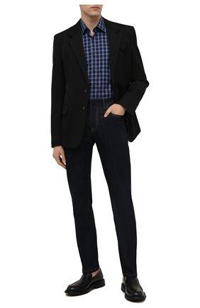 Мужская хлопковая сорочка BOSS темно-синего цвета, арт. 50459544 | Фото 2 (Длина (для топов): Стандартные; Материал внешний: Хлопок; Рукава: Длинные; Случай: Формальный; Принт: Однотонные; Стили: Классический; Рубашки М: Slim Fit; Манжеты: На пуговицах; Воротник: Кент)