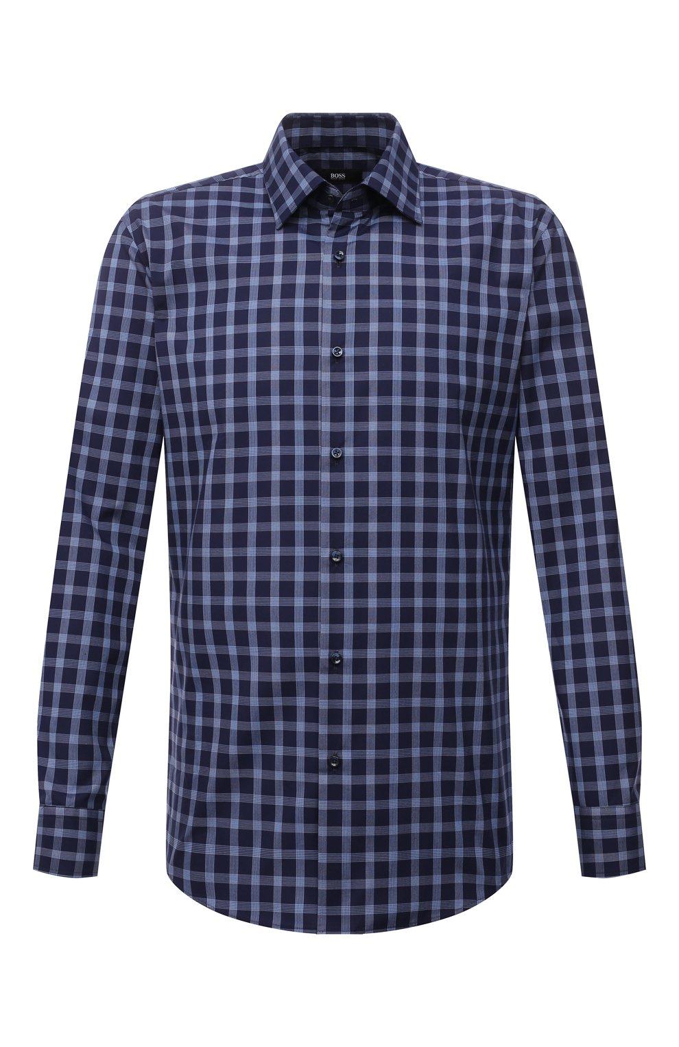 Мужская хлопковая рубашка BOSS синего цвета, арт. 50454035   Фото 1 (Манжеты: На пуговицах; Принт: Клетка; Воротник: Кент; Рукава: Длинные; Случай: Повседневный; Длина (для топов): Стандартные; Рубашки М: Slim Fit; Материал внешний: Хлопок; Стили: Кэжуэл)