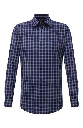 Мужская хлопковая рубашка BOSS синего цвета, арт. 50454035 | Фото 1 (Материал внешний: Хлопок; Длина (для топов): Стандартные; Рукава: Длинные; Случай: Повседневный; Принт: Клетка; Стили: Кэжуэл; Рубашки М: Slim Fit; Манжеты: На пуговицах; Воротник: Кент)