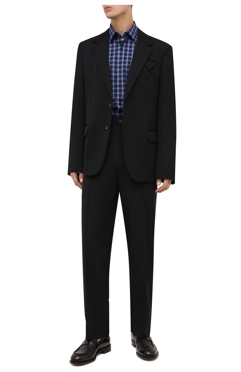 Мужская хлопковая рубашка BOSS синего цвета, арт. 50454035   Фото 2 (Манжеты: На пуговицах; Принт: Клетка; Воротник: Кент; Рукава: Длинные; Случай: Повседневный; Длина (для топов): Стандартные; Рубашки М: Slim Fit; Материал внешний: Хлопок; Стили: Кэжуэл)