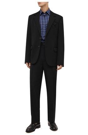Мужская хлопковая рубашка BOSS синего цвета, арт. 50454035 | Фото 2 (Материал внешний: Хлопок; Длина (для топов): Стандартные; Рукава: Длинные; Случай: Повседневный; Принт: Клетка; Стили: Кэжуэл; Рубашки М: Slim Fit; Манжеты: На пуговицах; Воротник: Кент)