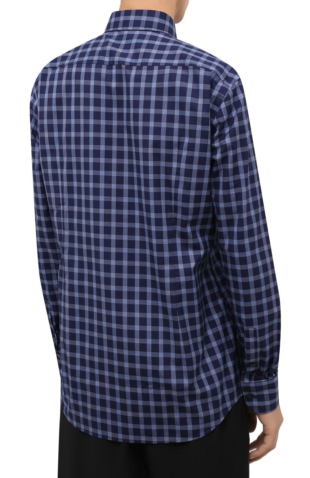 Мужская хлопковая рубашка BOSS синего цвета, арт. 50454035   Фото 4 (Манжеты: На пуговицах; Принт: Клетка; Воротник: Кент; Рукава: Длинные; Случай: Повседневный; Длина (для топов): Стандартные; Рубашки М: Slim Fit; Материал внешний: Хлопок; Стили: Кэжуэл)