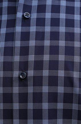 Мужская хлопковая рубашка BOSS синего цвета, арт. 50454035   Фото 5 (Манжеты: На пуговицах; Принт: Клетка; Воротник: Кент; Рукава: Длинные; Случай: Повседневный; Длина (для топов): Стандартные; Рубашки М: Slim Fit; Материал внешний: Хлопок; Стили: Кэжуэл)