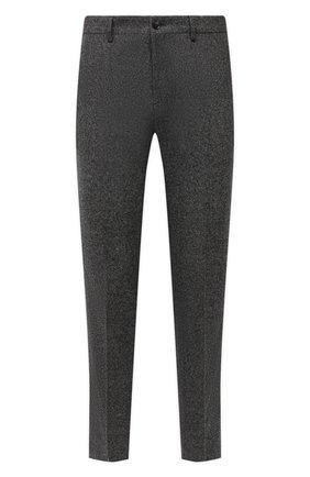 Мужские брюки из шерсти и шелка BOSS серого цвета, арт. 50460323 | Фото 1 (Материал внешний: Шерсть; Длина (брюки, джинсы): Стандартные; Случай: Повседневный; Стили: Кэжуэл)