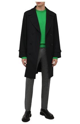 Мужские брюки из шерсти и шелка BOSS серого цвета, арт. 50460323 | Фото 2 (Материал внешний: Шерсть; Длина (брюки, джинсы): Стандартные; Случай: Повседневный; Стили: Кэжуэл)