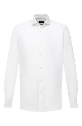 Мужская хлопковая сорочка BOSS белого цвета, арт. 50459961 | Фото 1 (Рукава: Длинные; Длина (для топов): Стандартные; Материал внешний: Хлопок; Принт: Однотонные; Стили: Классический; Рубашки М: Regular Fit; Воротник: Акула; Манжеты: Под запонки; Случай: Вечерний)