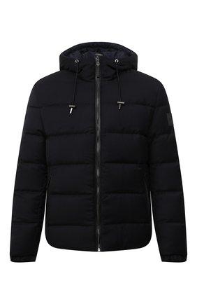 Мужская двусторонняя пуховая куртка BOSS темно-синего цвета, арт. 50455099 | Фото 1 (Рукава: Длинные; Материал утеплителя: Пух и перо; Длина (верхняя одежда): Короткие; Материал внешний: Шерсть; Кросс-КТ: Куртка; Мужское Кросс-КТ: пуховик-короткий; Стили: Кэжуэл)