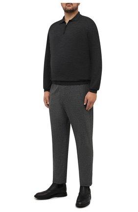 Мужское шерстяное поло SVEVO темно-серого цвета, арт. 13097XSA21/MP13 | Фото 2 (Материал внешний: Шерсть; Застежка: Молния; Рукава: Длинные; Стили: Кэжуэл; Big sizes: Big Sizes; Длина (для топов): Стандартные)