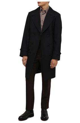 Мужские брюки из шерсти и кашемира TOM FORD коричневого цвета, арт. 228R02/732D42 | Фото 2 (Материал внешний: Шерсть; Длина (брюки, джинсы): Стандартные; Случай: Повседневный; Стили: Кэжуэл)