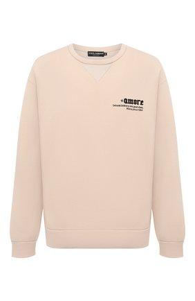 Мужской хлопковый свитшот DOLCE & GABBANA бежевого цвета, арт. G9VD9Z/FU77G | Фото 1 (Длина (для топов): Стандартные; Рукава: Длинные; Материал внешний: Хлопок; Мужское Кросс-КТ: свитшот-одежда; Принт: С принтом; Стили: Гранж)