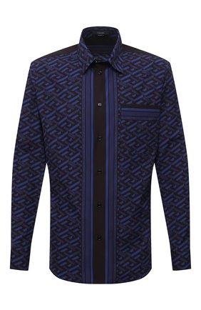 Мужская хлопковая рубашка VERSACE синего цвета, арт. 1002485/1A01810 | Фото 1 (Длина (для топов): Стандартные; Рукава: Длинные; Материал внешний: Хлопок; Случай: Повседневный; Принт: С принтом; Стили: Гламурный; Рубашки М: Regular Fit; Манжеты: На пуговицах; Воротник: Кент)