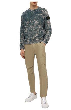 Мужской хлопковый свитшот STONE ISLAND темно-бирюзового цвета, арт. 751561538 | Фото 2 (Материал внешний: Хлопок; Рукава: Длинные; Длина (для топов): Стандартные; Мужское Кросс-КТ: свитшот-одежда; Принт: Без принта; Стили: Гранж)