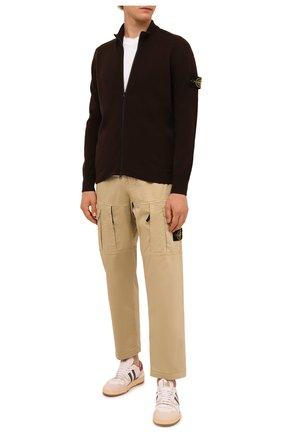 Мужской шерстяной кардиган STONE ISLAND темно-коричневого цвета, арт. 7515519A1 | Фото 2 (Материал внешний: Шерсть; Длина (для топов): Стандартные; Рукава: Длинные; Мужское Кросс-КТ: Кардиган-одежда; Стили: Кэжуэл)
