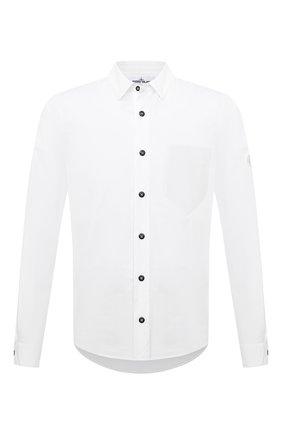 Мужская хлопковая рубашка STONE ISLAND белого цвета, арт. 751512501 | Фото 1 (Манжеты: На пуговицах; Воротник: Кент; Рукава: Длинные; Случай: Повседневный; Длина (для топов): Стандартные; Материал внешний: Хлопок; Принт: Однотонные; Стили: Кэжуэл)