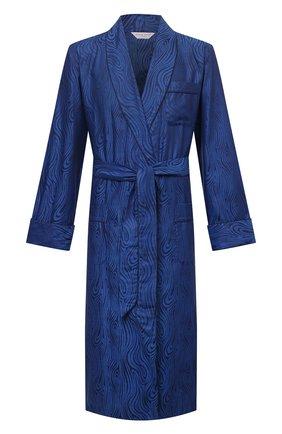 Мужской хлопковый халат DEREK ROSE темно-синего цвета, арт. 5505-PARI020 | Фото 1 (Материал внешний: Хлопок; Рукава: Длинные; Длина (верхняя одежда): Длинные; Кросс-КТ: домашняя одежда)