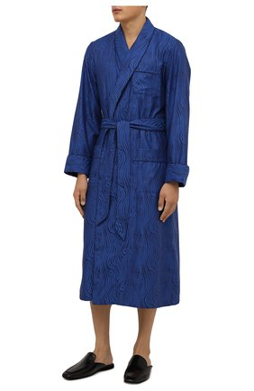 Мужской хлопковый халат DEREK ROSE темно-синего цвета, арт. 5505-PARI020 | Фото 2 (Материал внешний: Хлопок; Рукава: Длинные; Длина (верхняя одежда): Длинные; Кросс-КТ: домашняя одежда)