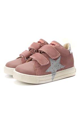 Детские кожаные кеды FALCOTTO розового цвета, арт. 0012015346/04   Фото 1 (Материал внутренний: Натуральная кожа)