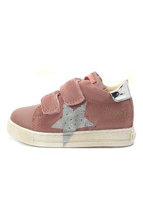 Детские кожаные кеды FALCOTTO розового цвета, арт. 0012015346/04   Фото 2 (Материал внутренний: Натуральная кожа)