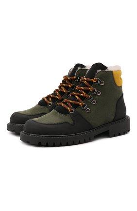 Детские замшевые ботинки IL GUFO хаки цвета, арт. G471/VEL0UR/31-34 | Фото 1 (Материал утеплителя: Натуральный мех)