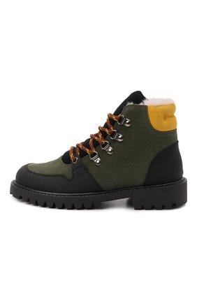 Детские замшевые ботинки IL GUFO хаки цвета, арт. G471/VEL0UR/31-34 | Фото 2 (Материал утеплителя: Натуральный мех)