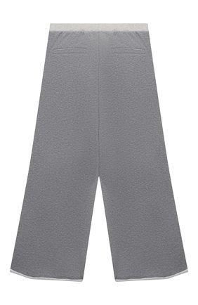 Детские хлопковые брюки BRUNELLO CUCINELLI серого цвета, арт. BM810E443B | Фото 2 (Материал внешний: Хлопок; Девочки Кросс-КТ: Брюки-одежда; Ростовка одежда: 10 - 11 лет | 140 - 146см, 8 лет | 128 см)